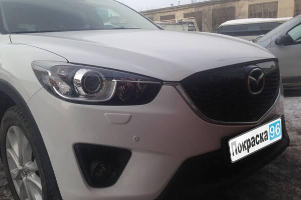 Mazda CX5 2013 замена и покраска переднего левого крыла, ремонт и покраска переднего бампера, замена передней правой фары