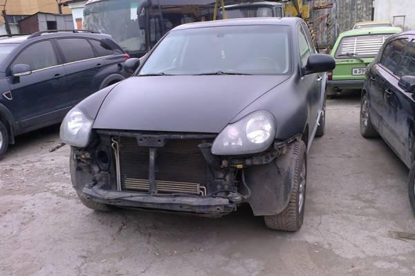 Porsche Cayenne 2004 ремонт и покраска бамперов, задней левой двери и крыла в матовый цвет - 20120621