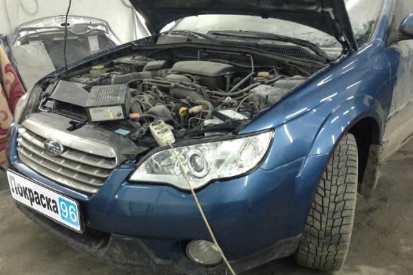 Subaru Outback (3rd generation) 2008 вытягивание передних лонжеронов, восстановление левого верхнего брызговика, капота и рамки радиатора, замена бампера и покраска 20130220