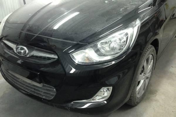 Hyundai Solaris 2012 замена и покраска передней левой двери, порога, переднего бампера, ремонт и покраска переднего левого крыла и задней крышки багажника 20130301