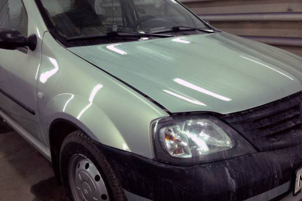 Renault Logan 2007 замена и покраска заднего левого крыла, заднего фартука, крышки багажника, ремонт и покраска крыши, бамперов передних крыльев 20130314