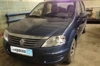 Renault Logan (2nd generation) 2012 восстановление геометрии кузова, замена и покраска: переднего бампера, переднего левого крыла, ремонт и покраска капота 20130330